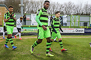 FGR Ambassador with Forest Green Rovers Dale Bennett(6) during the Vanarama National League match between Forest Green Rovers and Boreham Wood at the New Lawn, Forest Green, United Kingdom on 11 February 2017. Photo by Shane Healey.
