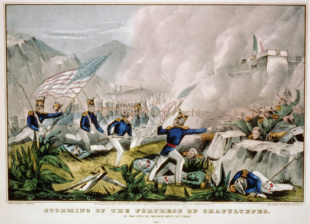 Mexican-American War 1846-1848:   US forces under Winfield Scott  storming the Fortress of Chapultepec,, Mexico City, 12 September 1847. Hand-coloured engraving.