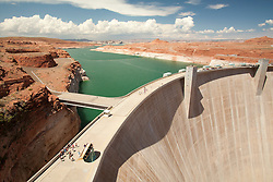North America, Arizona, Page, Glen Canyon Dam and Lake Powell.  The 216m high concrete arch dam is part of the Colorado River Storage Project for the Upper Colorado Basin