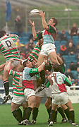 1997 Heineken European Cup,, NEC Harlequins V Leicester Tigers Stoop 18-4-98.Quins Gareth Llewellyn collects the line out ball  © Peter Spurrier. [Mandatory Credit, Peter Spurrier/ Intersport Images]