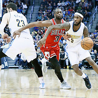 22 November 2016: Denver Nuggets guard Will Barton (5) drives past Chicago Bulls guard Dwyane Wade (3) on a screen set by Denver Nuggets center Jusuf Nurkic (23) during the Denver Nuggets 110-107 victory over the Chicago Bulls, at the Pepsi Center, Denver, Colorado, USA.