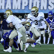 Salesianum quarterback Matt Sgro (3) hands off the ball to running back Troy Reeder (9) who rushes extra yardage in the second quarter of the DIAA State Championship football game against Middletown Saturday, Nov. 30 2013, at Delaware Stadium in Newark Delaware.