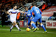 Peterborough Utd midfielder Siriki Dembélé (10) can't get through during the EFL Sky Bet League 1 match between Peterborough United and Rochdale at London Road, Peterborough, England on 12 January 2019.