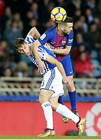 Real Sociedad's Sergio Canales (l) and FC Barcelona's Jordi Alba during La Liga match. January 14,2018. (ALTERPHOTOS/Acero)