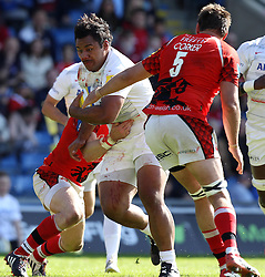 Saracens Mako Vunipola powers his way through the London Welsh tackles - Photo mandatory by-line: Robbie Stephenson/JMP - Mobile: 07966 386802 - 16/05/2015 - SPORT - Rugby - Oxford - Kassam Stadium - London Welsh v Saracens - Aviva Premiership