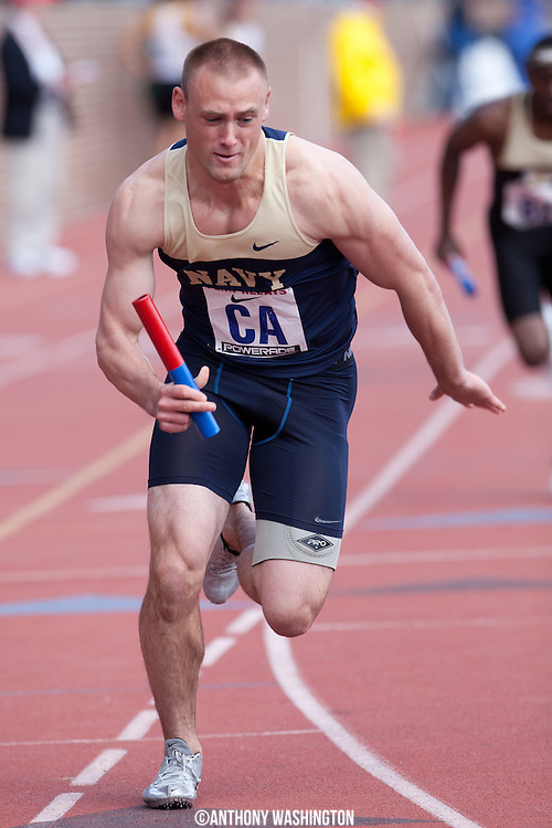 Kolton Kempel of the United States Naval Academy runs the first leg of the College Men's 4x400 Heat during the Penn Relays athletic meets on Friday, April 27, 2012 in Philadelphia, PA.