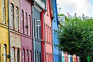 A colorful street scene in Østerbro in Copenhagen featuring leafy green foliage.