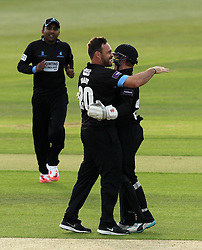 Sussex's Michael Yardy celebrates the wicket of Hampshire's James Vince - Photo mandatory by-line: Robbie Stephenson/JMP - Mobile: 07966 386802 - 19/06/2015 - SPORT - Cricket - Southampton - The Ageas Bowl - Hampshire v Sussex - Natwest T20 Blast
