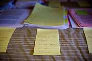 "Ron Grassi keeps his research organized on a spare bunkbed in his Tahoe City, Calif. ""war room""/guest bedroom May 13, 2010. Grassi is suing the big three ratings agencies after he lost $40,000 on a Lehman Brothers bond."
