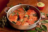 Poached salmon with avocado-tarragon aioli