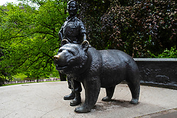 Statue of Wojtek the Soldier Bear in Princes Street Gardens, Edinburgh, Scotland, UK