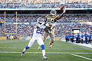 PITTSBURGH, PA - OCTOBER 26: Antonio Brown #84 of the Pittsburgh Steelers makes a touchdown reception against Greg Toler #28 of the Indianapolis Colts during the game at Heinz Field on October 26, 2014 in Pittsburgh, Pennsylvania. The Steelers defeated the Colts 51-34. (Photo by Joe Robbins/Getty Images)