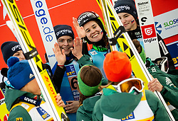 Spela Rogelj of Slovenia, Jerneja Brecl of Slovenia, Ursa Bogataj of Slovenia and Nika Kriznar of Slovenia celebrate with team Germany during Trophy ceremony after the Team Competition at Day 2 of World Cup Ski Jumping Ladies Ljubno 2019, on February 9, 2019 in Ljubno ob Savinji, Slovenia. Photo by Matic Ritonja / Sportida