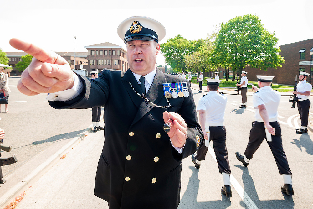 Warrant Officer 1st class Paul Barker, the Royal Navy's State Ceremonial Training Officer, during rehearsals for the royal wedding at HMS Collingwood.