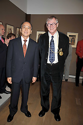 Left to right, HE Mr Shin Ebihara the Japanesse ambassador to the UK and SIR NICHOLAS GRIMSHAW President of the RA at a private view of the Kuniyoshi exhibition at the Royal Academy, Piccadilly, London on 17th March 2009.
