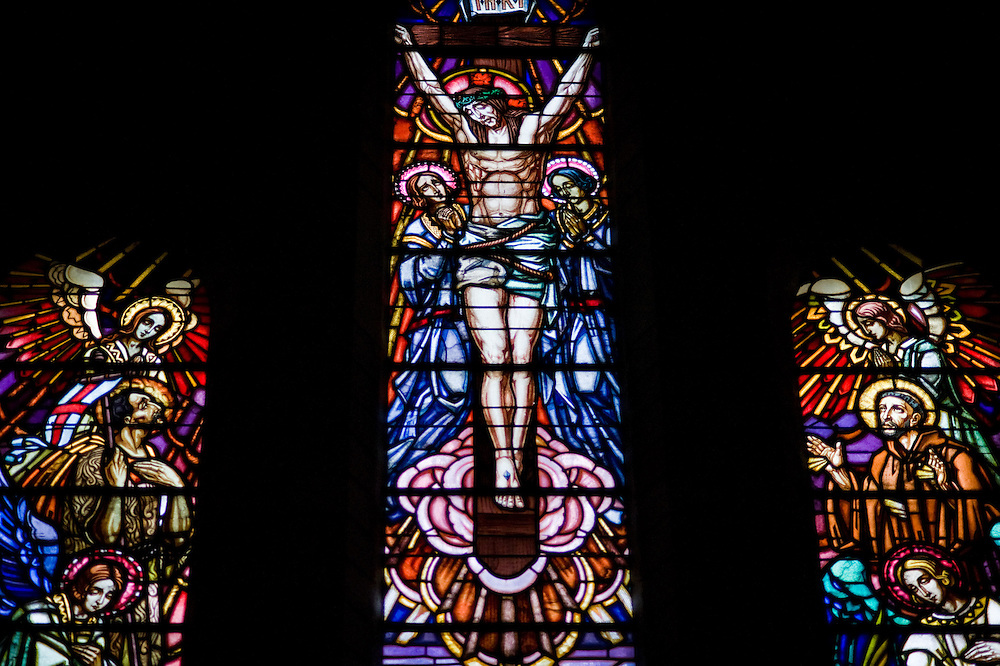 The stained glass of the Chapel of Remembrance (Chapelle des Souvenirs ) in Rancourt, Picardy build by the dy Bos family as a commemoration to their son Jean and his comrades who were killed there in September 1916. The National Cemetery of Rancourt is the largest French cemetery in Somme with 8566 graves.