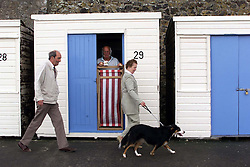 Colin and May Boarer with their collie dog Megan .Colin and May got Megan from a local farm and they had to call in a behaviouralist to sort out the dog's aggressive tendencies, Margate, July 13, 2000..Photo by Andrew Parsons/i-Images..