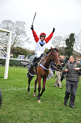 Winner of the 2011 Hennessy Gold Cup Carruthers ridden by MATTIE BATCHELOR at the Hennessy Gold Cup at Newbury Racecourse, Berkshire on 26th November 2011.