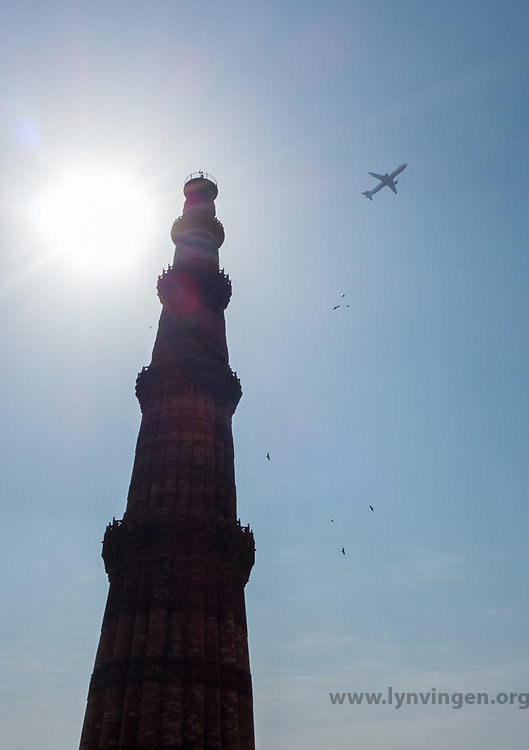 Qutb complex Qutb Minar and its Monuments, Delhi<br /> <br /> Built in the early 13th century a few kilometres south of Delhi, the red sandstone tower of Qutb Minar is 72.5 m high, tapering from 2.75 m in diameter at its peak to 14.32 m at its base, and alternating angular and rounded flutings. The surrounding archaeological area contains funerary buildings, notably the magnificent Alai-Darwaza Gate, the masterpiece of Indo-Muslim art (built in 1311), and two mosques, including the Quwwatu'l-Islam, the oldest in northern India, built of materials reused from some 20 Brahman temples.