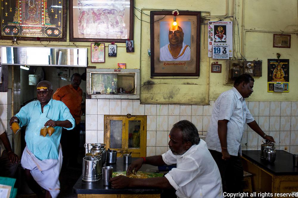 A dosa shop in Madurai, Tamil Nadu, India