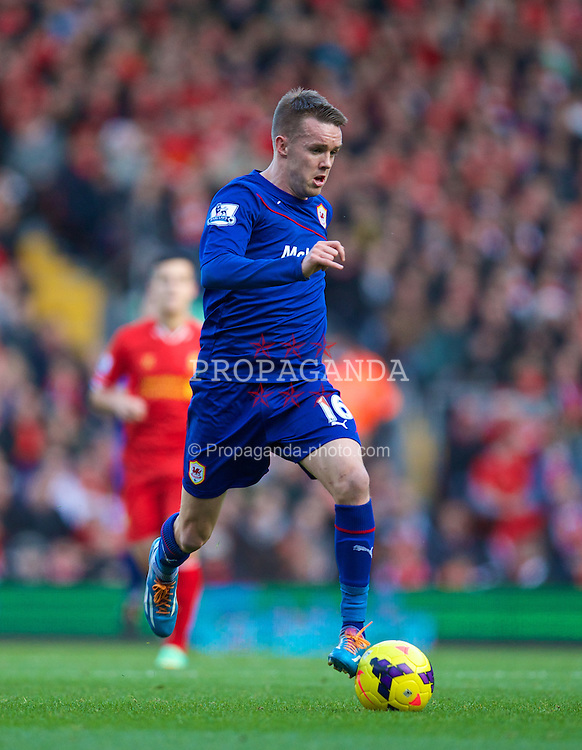 LIVERPOOL, ENGLAND - Saturday, December 21, 2013: Cardiff City's Craig Noone in action against Liverpool during the Premiership match at Anfield. (Pic by David Rawcliffe/Propaganda)