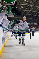 KELOWNA, CANADA - OCTOBER 10:  Jaxan Kaluski #17 of the Seattle Thunderbirds celebrates a goal with fist bumps to the bench against the Kelowna Rockets on October 10, 2018 at Prospera Place in Kelowna, British Columbia, Canada.  (Photo by Marissa Baecker/Shoot the Breeze)  *** Local Caption ***