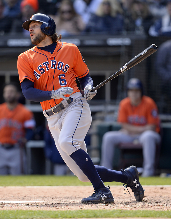 CHICAGO - APRIL 22:  Jake Marisnick #6 of the Houston Astros bats against the Chicago White Sox on April 22, 2018 at Guaranteed Rate Field in Chicago, Illinois.  (Photo by Ron Vesely)   Subject:   Jake Marisnick
