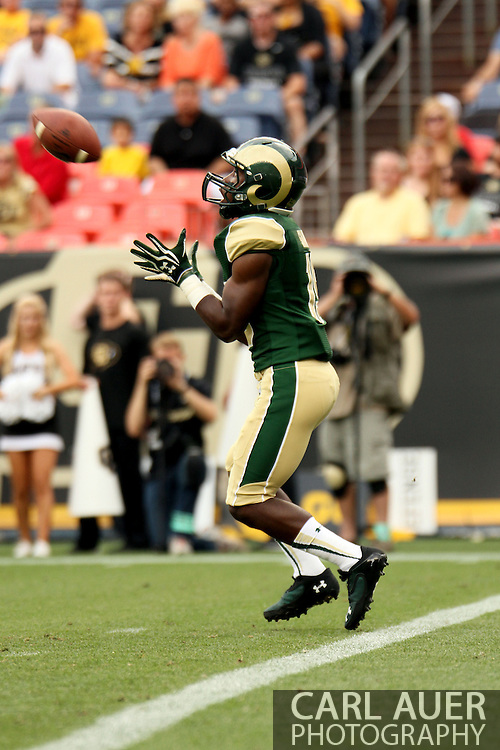 September 1st, 2013 - Colorado State Rams freshman kick returner Sammie Long (19) receives the kick off in the first half of the NCAA football game between the Colorado Buffaloes and the Colorado State Rams at Sports Authority Field in Denver, CO