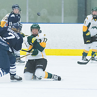 1st year forward Lilla Carpenter-Boesch (17) of the Regina Cougars blocks a shot during the Women's Hockey home game on October 8 at Co-operators arena. Credit: Arthur Ward/Arthur Images