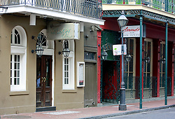 03 Sept 2014. New Orleans, Louisiana. <br /> Entrance to Arnaud's French 75 Bar in the French Quarter.<br /> Photo; Charlie Varley/varleypix.com