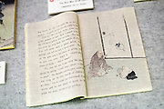 Photo shows pages from the original edition of Chin-Chin Kobakama at the Lafcadio Hearn museum in Matsue, Shimane Prefecture, Japan on 05 Nov. 2012. Photographer: Robert Gilhooly.