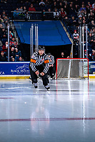 KELOWNA, CANADA - MARCH 2: Referee Kevin Webinger skates onto the ice at the start of the game between the Kelowna Rockets and the Portland Winterhawks on March 2, 2019 at Prospera Place in Kelowna, British Columbia, Canada.  (Photo by Marissa Baecker/Shoot the Breeze)