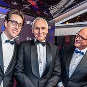 NLD/Amsterdam/20170324 - Boekenbal 2017, Benjamin Moser, Arthur Japin en uitgever Lex Jansen