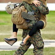 Tammie Pappas greets Lance Corporal Benjamin Mastrofilippo as he returns December 3, 2006 to Camp Lejeune, North Carolina. The 2,200 Marines and Sailors of 24th MEU return home this weekend after a six-month deployment that included the evacuation of 15,000 U.S. citizens from war-torn Lebanon and combat operations in Afghanistan and Iraq.