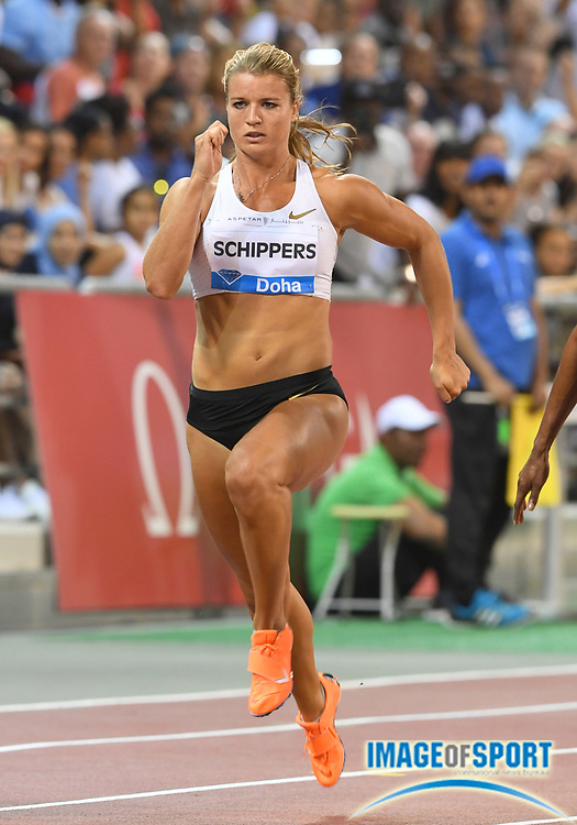 Dafne Schippers (NED) places sixth in the women's 100m in 11.03 in the 2018 IAAF Doha Diamond League meeting at Suhaim Bin Hamad Stadium in Doha, Qatar, Friday, May 4, 2018. (Jiro Mochizuki/Image of Sport)