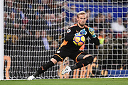 Leicester City goalkeeper Kasper Schmeichel (1) makes a save during the Premier League match between Leicester City and Manchester City at the King Power Stadium, Leicester, England on 18 November 2017. Photo by Jon Hobley.