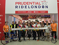 The Cycling Show at The Excel Centre is opened by the blood cancer research charity, Bloodwise  (L to R) Jonathan Rowland, Joe Smale (3 time leukaemia survivor), Elizabeth Mailey, Tim Smale, Diana Jupp (acting CEO Bloodwise) Riding for Team Angus, in memory of Jonathan and Elizabeth's son, Angus, who sadly died from leukaemia in 2011. Part of the Prudential RideLondon Festival  in London.<br /> <br /> Photo: Jed Leicester/Silverhub for Prudential RideLondon<br /> <br /> Prudential RideLondon is the world's greatest festival of cycling, involving over 100,000+ cyclists – from Olympic champions to a free family fun ride - riding in events over closed roads in London and Surrey over the weekend of 28th to 30th July 2017. <br /> <br /> See www.PrudentialRideLondon.co.uk for more.<br /> <br /> For further information: media@londonmarathonevents.co.uk