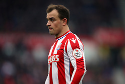Detail of the Cardiac Risk in the Young badge on the sleeve of Stoke City's Xherdan Shaqiri shirt