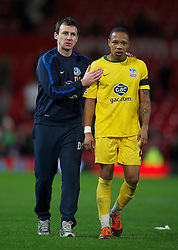 01.12.2011, Old Trafford, Manchester, ENG, PL, Viertelfinale, Manchester United FC vs Crystal Palace FC, im Bild Crystal Palace's manager Dougie Freedman celebrates with Nathaniel Clyne after his side's 2-1 victory over Manchester United during the football match of Englisch Football League Cup, Quarter-Final, between Manchester United FC and Crystal Palace FC at Old Trafford, Manchester, ENG on 2011-12-01. EXPA Pictures © 2011, PhotoCredit: EXPA/ Sportida/ David Rawcliff..***** ATTENTION - OUT OF ENG, GBR, UK *****