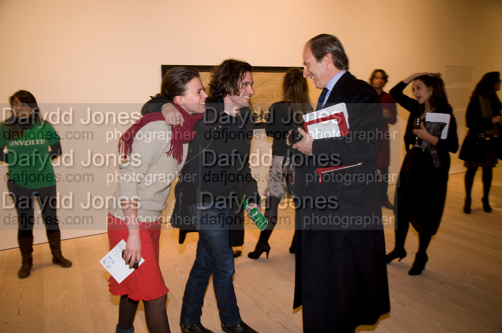 ELOISE FORNIELES; NICK HACKWORTH; SIMON DE PURY, Unveiled; New art from the Middle East. The Saatchi Gallery in partnership with Phillips de Pury. Saatchi Gallery. King's Rd. London. 29 January 2009 *** Local Caption *** -DO NOT ARCHIVE-© Copyright Photograph by Dafydd Jones. 248 Clapham Rd. London SW9 0PZ. Tel 0207 820 0771. www.dafjones.com.<br /> ELOISE FORNIELES; NICK HACKWORTH; SIMON DE PURY, Unveiled; New art from the Middle East. The Saatchi Gallery in partnership with Phillips de Pury. Saatchi Gallery. King's Rd. London. 29 January 2009