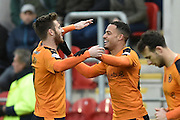 Wolverhampton Wanderers midfielder James Henry scores to go 1-0 up celebrating with Wolverhampton Wanderers midfielder Jordan Graham during the Sky Bet Championship match between Rotherham United and Wolverhampton Wanderers at the New York Stadium, Rotherham, England on 5 December 2015. Photo by Ian Lyall.
