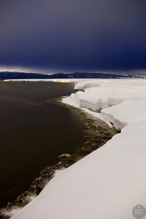 """""""Snowy Shore on Lake Tahoe 2"""" - This snowy shore line on Lake Tahoe was photographed at dusk in Tahoe City, CA"""