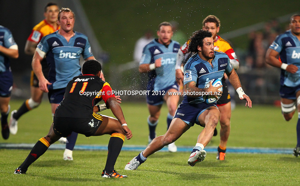 Rene Ranger of the Blues makes a break during the Super Rugby game between The Blues and The Chiefs, North Harbour Stadium, Auckland, New Zealand, Saturday June 2nd 2012. Photo: Simon Watts / photosport.co.nz