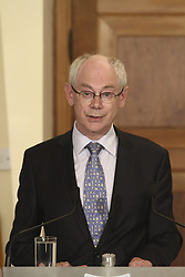 Herman Van Rompuy president of European Council during the meeting with Cypriot President Demetris Christofias in Nicosia, Cyprus on 28th of May,2012. Photo By Imago/i-Images