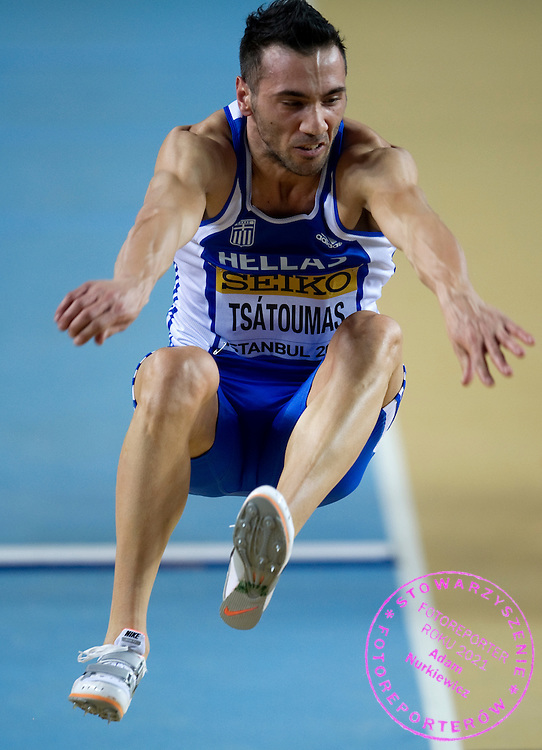 Louis Tsatoumas of Greece competes in men's long jump final during 2012 IAAF World Indoor Championships in Athletics at Atakoy Athletics Arena in Istanbul, Turkey...Turkey, Istanbul, March 10, 2012..Picture also available in RAW (NEF) or TIFF format on special request...For editorial use only. Any commercial or promotional use requires permission...Photo by © Adam Nurkiewicz / Mediasport