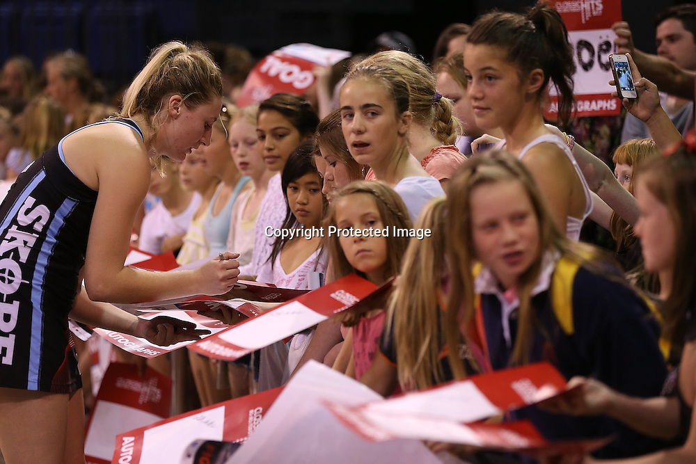 Zoe Walker of Canterbury Tactix signs autographs after the ANZ Netball Championship, Easiyo Tactix v Southern Steel at CBS Arena, Christchurch, New Zealand. Saturday 30th March 2013. Photo: Martin Hunter/ Photosport.co.nz