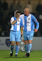 Photo: Paul Greenwood.<br /> Chester City v Hereford United. Coca Cola League 2. 12/10/2007.<br /> Chester's Kevin Ellison, (R) congratulates goal scorer Simon Yeo