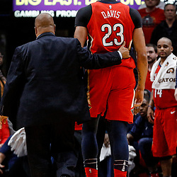 Nov 29, 2017; New Orleans, LA, USA; New Orleans Pelicans forward Anthony Davis (23) is escorted off the court after being ejected following his second technical foul during the second quarter of a game against the Minnesota Timberwolves at the Smoothie King Center. Mandatory Credit: Derick E. Hingle-USA TODAY Sports