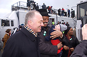 Mayor Ken Livingstone, Rev Jesse Jackson with Ken Livingstone's baby, Thomas Beal, ( Livingstone?) Anti War Rally, Hyde Park. 15 February 2003. © Copyright Photograph by Dafydd Jones 66 Stockwell Park Rd. London SW9 0DA Tel 020 7733 0108 www.dafjones.com