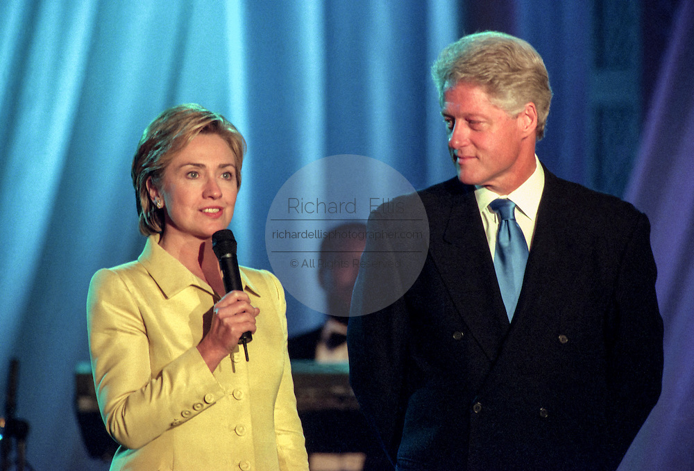 First Lady Hillary Rodham Clinton and President Bill Clinton attends the taping of the PBS special Legends of the Blues: In Performance at the White House on the South Lawn of the White House July 28, 1999 in Washington, DC.